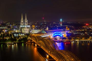 cologne cathedral with rhine river at night- Stock Photo or Stock Video of rcfotostock   RC-Photo-Stock