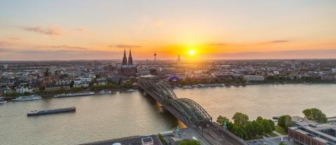 Cologne city panorama at dusk with the cathedral- Stock Photo or Stock Video of rcfotostock | RC-Photo-Stock