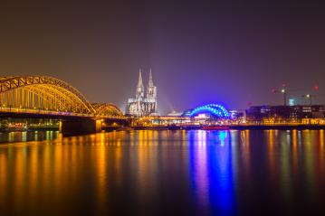 Cologne city panorama at night- Stock Photo or Stock Video of rcfotostock | RC-Photo-Stock