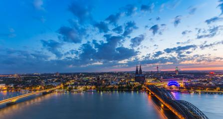 cologne city skyline at dusk panorama- Stock Photo or Stock Video of rcfotostock | RC-Photo-Stock