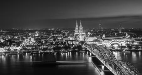 cologne city skyline at night in black and white- Stock Photo or Stock Video of rcfotostock | RC-Photo-Stock
