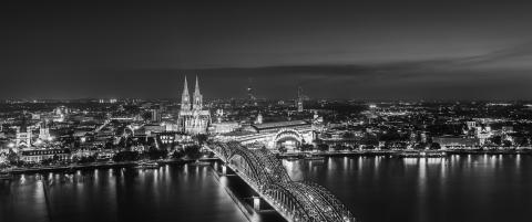 cologne city skyline panorama in black and white- Stock Photo or Stock Video of rcfotostock | RC-Photo-Stock