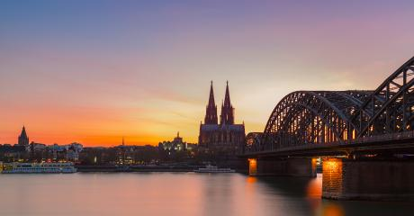 Cologne City Skyline Silhouette at sunset- Stock Photo or Stock Video of rcfotostock | RC-Photo-Stock