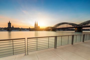 cologne city view from the Rhine Boulevard at sunset : Stock Photo or Stock Video Download rcfotostock photos, images and assets rcfotostock   RC-Photo-Stock.: