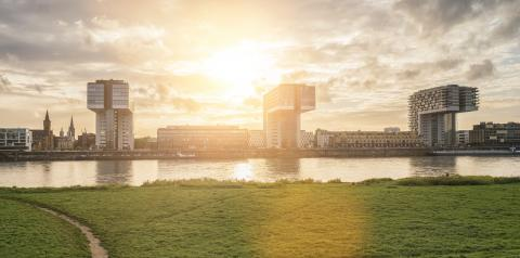 Cologne Crane Houses and the poller meadow at sunset, germany- Stock Photo or Stock Video of rcfotostock   RC-Photo-Stock