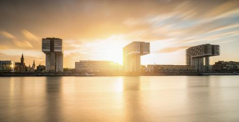 Cologne Crane Houses at Sunset- Stock Photo or Stock Video of rcfotostock | RC-Photo-Stock