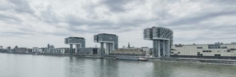 Cologne crane houses at the rhine- Stock Photo or Stock Video of rcfotostock | RC-Photo-Stock