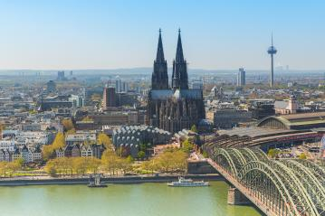 Cologne in germany aerial view over the Rhine River- Stock Photo or Stock Video of rcfotostock | RC-Photo-Stock