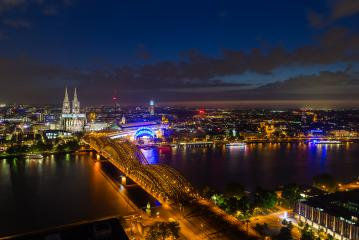 cologne night cityscape panorama- Stock Photo or Stock Video of rcfotostock | RC-Photo-Stock