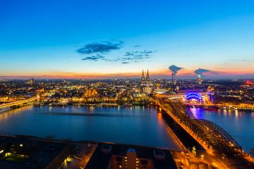 Cologne Night Skyline- Stock Photo or Stock Video of rcfotostock | RC-Photo-Stock