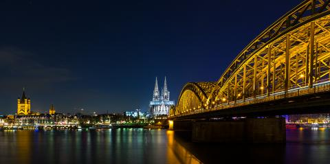 Cologne Night Skyline with Cathedral  : Stock Photo or Stock Video Download rcfotostock photos, images and assets rcfotostock | RC-Photo-Stock.: