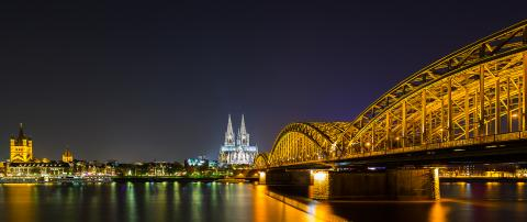 Cologne night skyline with cathedral and hohenzollern bridge- Stock Photo or Stock Video of rcfotostock | RC-Photo-Stock