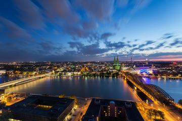 cologne skyline aerial view at night with cloudy sky- Stock Photo or Stock Video of rcfotostock | RC-Photo-Stock
