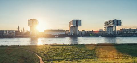 Cologne Skyline at sunset on the rhine river, germany- Stock Photo or Stock Video of rcfotostock | RC-Photo-Stock