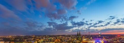Cologne skyline at sunset with cloudy sky- Stock Photo or Stock Video of rcfotostock | RC-Photo-Stock