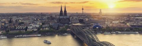Cologne Skyline panorama at sunset- Stock Photo or Stock Video of rcfotostock   RC-Photo-Stock