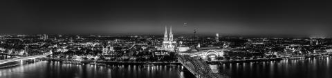 cologne skyline panorama in black and white- Stock Photo or Stock Video of rcfotostock | RC-Photo-Stock