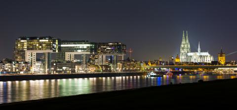 Cologne Skyline with Cathedral and crane houses at night- Stock Photo or Stock Video of rcfotostock | RC-Photo-Stock