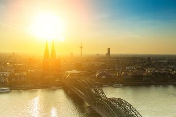 Cologne skyline with cathedral at sunset- Stock Photo or Stock Video of rcfotostock | RC-Photo-Stock