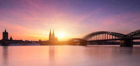Cologne skyline with cathedral at sunset Silhouette : Stock Photo or Stock Video Download rcfotostock photos, images and assets rcfotostock | RC-Photo-Stock.: