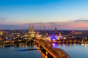 Cologne with Cologne Cathedral during twilight blue hour- Stock Photo or Stock Video of rcfotostock | RC-Photo-Stock