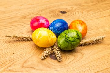 colored easter eggs with wheat ears- Stock Photo or Stock Video of rcfotostock | RC-Photo-Stock