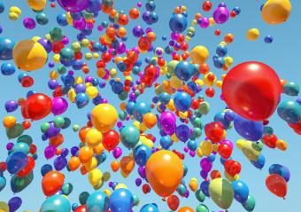 colorful Balloons Flying to the sky - 3D Rendering- Stock Photo or Stock Video of rcfotostock | RC-Photo-Stock