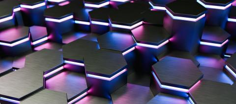 colorful bright neon uv blue and purple lights abstract hexagons background pattern - 3D rendering - Illustration - Stock Photo or Stock Video of rcfotostock   RC-Photo-Stock
