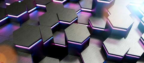 colorful bright neon uv blue and purple lights abstract hexagons background pattern, gaming Concept image - 3D rendering - Illustration - Stock Photo or Stock Video of rcfotostock | RC-Photo-Stock