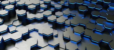 colorful bright neon uv blue lights abstract hexagons background pattern - 3D rendering - Illustration - Stock Photo or Stock Video of rcfotostock | RC-Photo-Stock