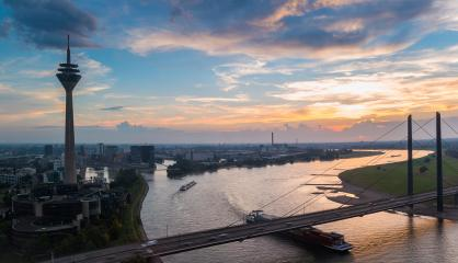 colorful cloudy sunset in Dusseldorf at the rhine river- Stock Photo or Stock Video of rcfotostock | RC-Photo-Stock