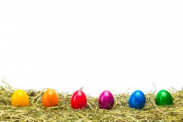 colorful easter eggs in a row on hay- Stock Photo or Stock Video of rcfotostock | RC-Photo-Stock