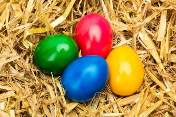 colorful easter eggs on a straw nest- Stock Photo or Stock Video of rcfotostock | RC-Photo-Stock