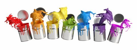 Colorful paint buckets splashing rainbow colors isolated on white background- Stock Photo or Stock Video of rcfotostock | RC-Photo-Stock
