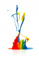 Colorful paint splash isolated on white- Stock Photo or Stock Video of rcfotostock | RC-Photo-Stock