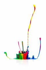 Colorful paint splash isolated on white- Stock Photo or Stock Video of rcfotostock   RC-Photo-Stock
