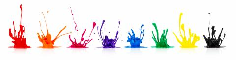 Colorful paint splashes isolated on white- Stock Photo or Stock Video of rcfotostock | RC-Photo-Stock