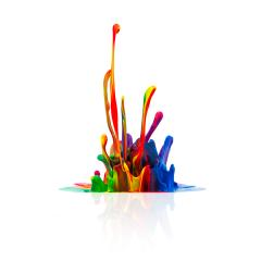 Colorful paint splashing isolated on white- Stock Photo or Stock Video of rcfotostock   RC-Photo-Stock