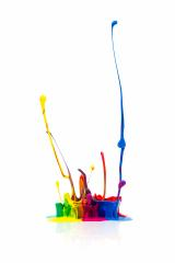 Colorful paint splashing isolated on white- Stock Photo or Stock Video of rcfotostock | RC-Photo-Stock