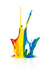 Colorful paint splashing on white- Stock Photo or Stock Video of rcfotostock   RC-Photo-Stock