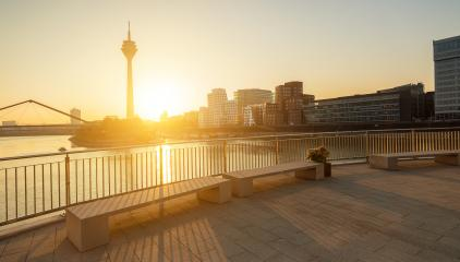 colorful sunrise in Dusseldorf at the media harbor- Stock Photo or Stock Video of rcfotostock | RC-Photo-Stock