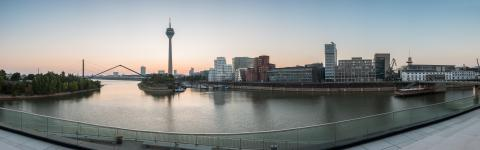 Colorful sunrise panorama of Dusseldorf in germany- Stock Photo or Stock Video of rcfotostock | RC-Photo-Stock