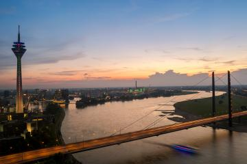 Colorful sunset view of Dusseldorf in germany- Stock Photo or Stock Video of rcfotostock | RC-Photo-Stock