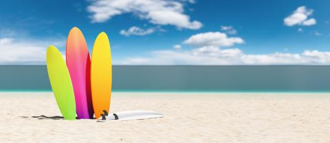colorful surfboards on the beach, copy space for individual text- Stock Photo or Stock Video of rcfotostock | RC-Photo-Stock
