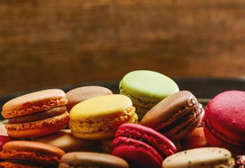 Colorful tasty french macaroons, including copy space- Stock Photo or Stock Video of rcfotostock | RC-Photo-Stock