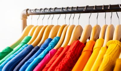 Colors of rainbow LGBT. Variety of casual clothes on wooden hangers- Stock Photo or Stock Video of rcfotostock   RC-Photo-Stock