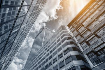 Common modern business skyscrapers, high-rise buildings, architecture raising to the sky, sun : Stock Photo or Stock Video Download rcfotostock photos, images and assets rcfotostock | RC-Photo-Stock.: