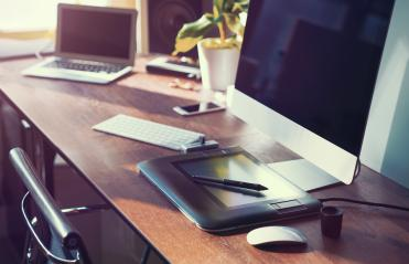 Computer on desktop in hipster workplace office - no people : Stock Photo or Stock Video Download rcfotostock photos, images and assets rcfotostock | RC-Photo-Stock.: