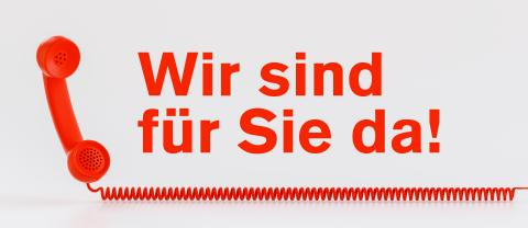 Concept for customer service communication hotline with telephone and german text - Wir sind für Sie da!- Stock Photo or Stock Video of rcfotostock | RC-Photo-Stock
