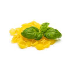 conchiglie pasta shell noodels with basil leaf- Stock Photo or Stock Video of rcfotostock   RC-Photo-Stock